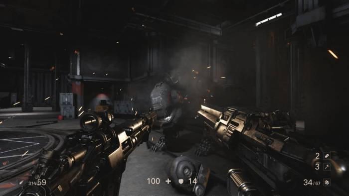 wolfetnstein 2 guns shooting