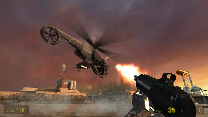 half life 2 shooting helicopter