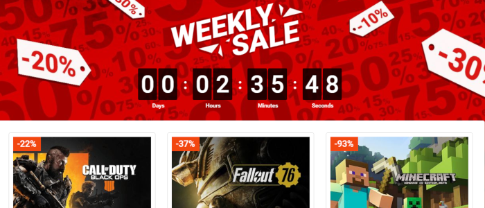 Weekly games sale on G2A.com