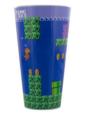 Super Mario Bros Blue Drinking Glass