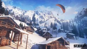 steep winter extreme sports game parachuting