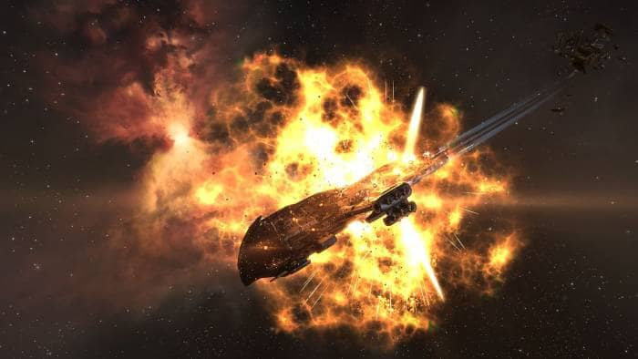 Space shuttle explosion in EVE Online